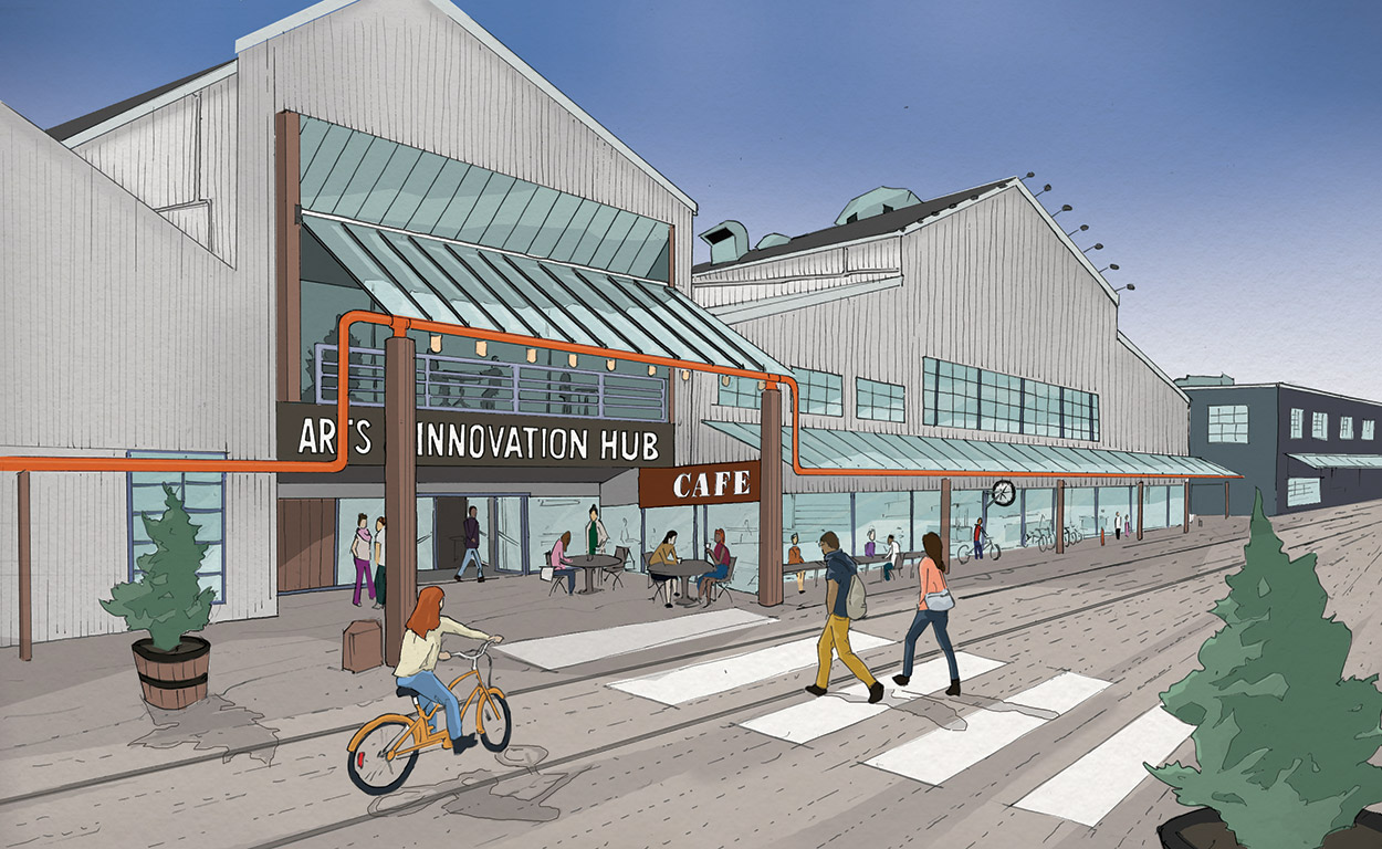 Exterior Rendering of the new Granville Island Arts and Innovation Hub