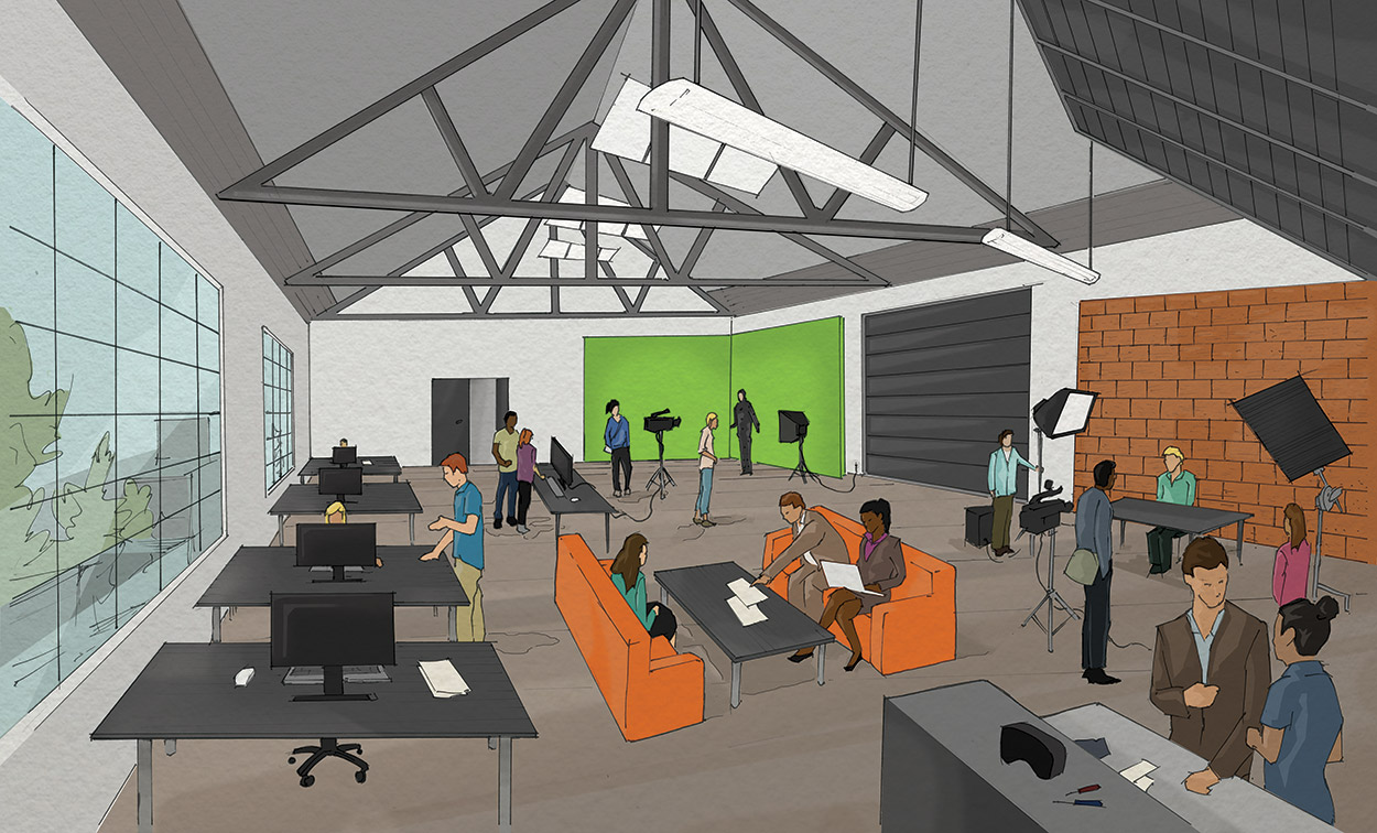 An interior rendering of the Granville Island Arts and Innocation hub, showing a potential augmented reality or virtual reality lab.